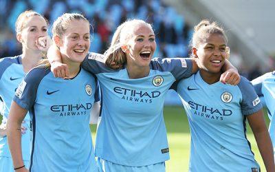 Manchester City's Keira Walsh, Toni Duggan and Nikita Parris celebrate
