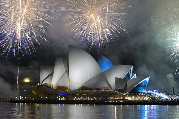 Sydney opera house with fireworks