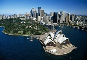 Sydney opera house overview shot