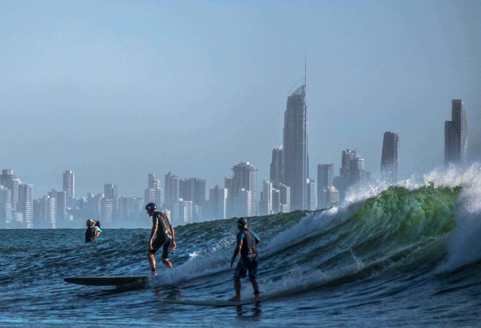Surfers on the gold coast