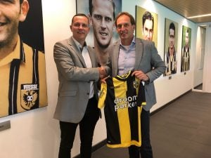 Steve Butchart and Joost de Wit shake hands after agreeing an extension to Inspiresports exclusive agreement with Vitesse Arnhem