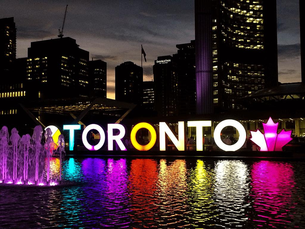 Toronto sign at night