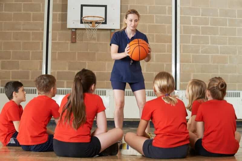 Children in sports class