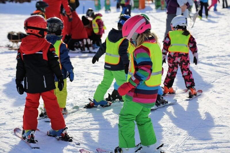 School children on ski slope