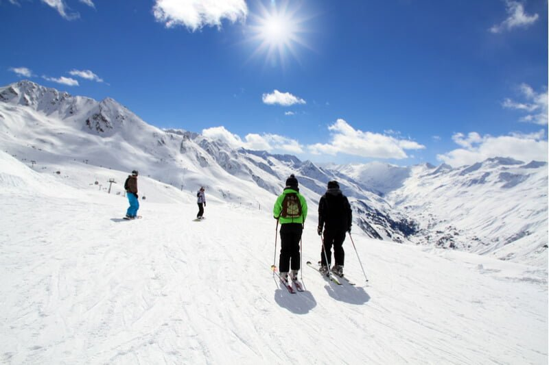 Group of skiiers on mountain