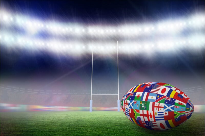 Rugby World Cup countries on rugby ball